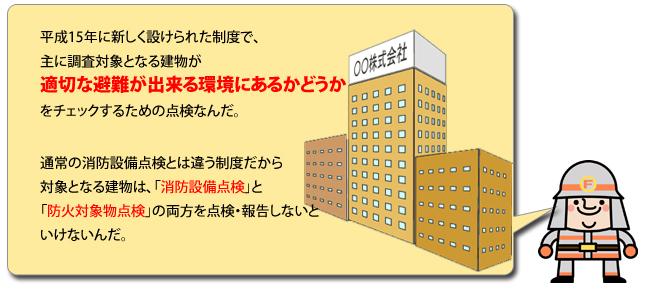 平成15年に新しく設けられた制度で、主に調査対象となる建物が適切な避難が出来る環境にあるかどうかをチェックするための点検なんだ。通常の消防設備点検とは違う制度だから対象となる建物は、「消防設備点検」と「防火対象物点検」の両方を点検・報告しないといけないんだ。
